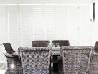 Aluminum Bi-fold Shutters on patio