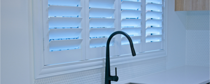custom built shutters in a kitchen