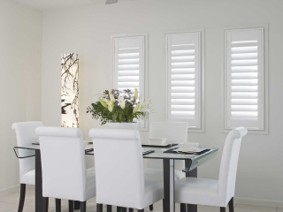 Plantation shutters in a living area